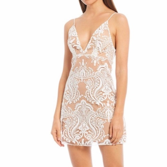 NWT Free People Night Shimmers Mini V-Neck Dress